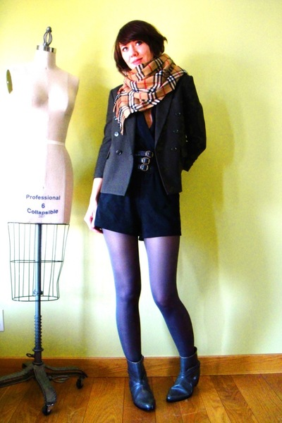 orange Burberry scarf - gray vintage blazer - black American Apparel suit - gray