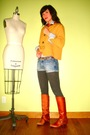 Orange-vintage-blazer-gray-target-leggings-blue-american-eagle-shorts-oran