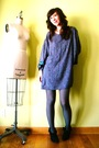 Gray-vintage-dress-gray-american-apparel-tights-black-victorias-secret-tight