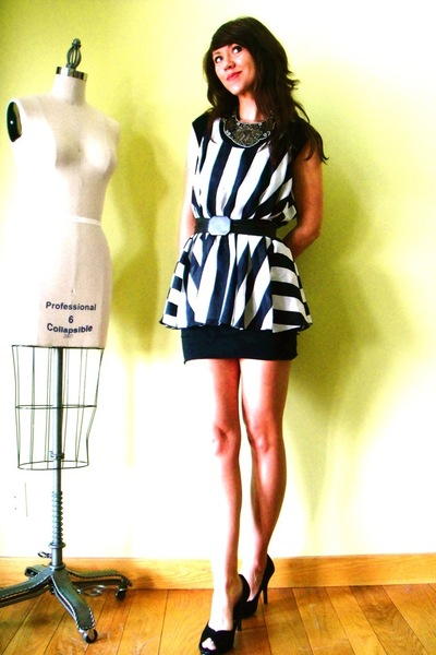 black American Apparel dress - white striped silk Victorias Secret dress