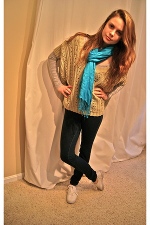 American Eagle jeans - Forever 21 sweater - Laila Rowe scarf - Target sneakers
