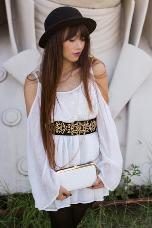 bowler hat H&M hat - gauze dailylookcom dress - small clutch JustFabcom bag