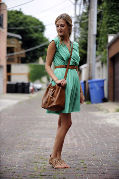turquoise blue thrifted dress - tawny leather Chloe bag - burnt orange leather t