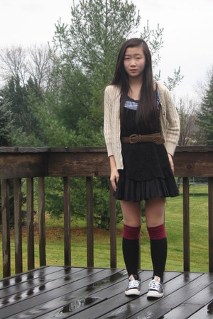 crocheted slip free people dress - maroon-black  socks - braided  belt
