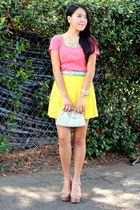 yellow dress - coral shirt - light blue belt - eggshell sandals