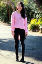 bubble gum oversized thrifted jumper - black skinny Wet Seal pants