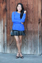 black leather skirt skirt - blue knitted sweater