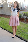 White-ruffles-blouse-bubble-gum-dots-skirt-light-pink-flats