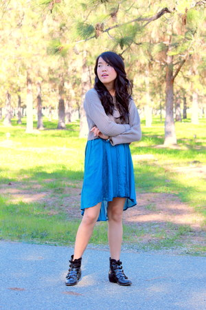 black Forever 21 boots - turquoise blue lace high low Ross dress