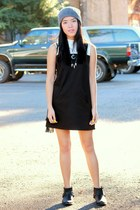 black faux leather boots - black color block Forever 21 dress