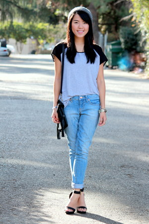 black Ross bag - light blue boyfriend jeans Target jeans