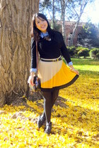 mustard pleats skirt - black shirt - sky blue denim shirt - black tights