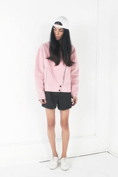 light pink Front Row Shop jacket - white asos shoes - black Choies shorts