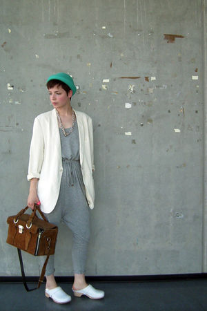 white blazer - blue H&M hat - silver H&M dress - white clogs shoes - brown