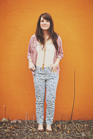 ivory Ruche blouse - light pink modcloth blouse - light blue madewell jeans
