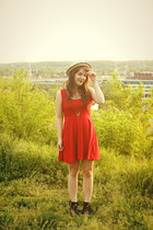 red tailor and stylist dress - black Old Navy boots - neutral Forever 21 hat