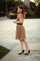 gold modcloth dress - black Forever21 heels