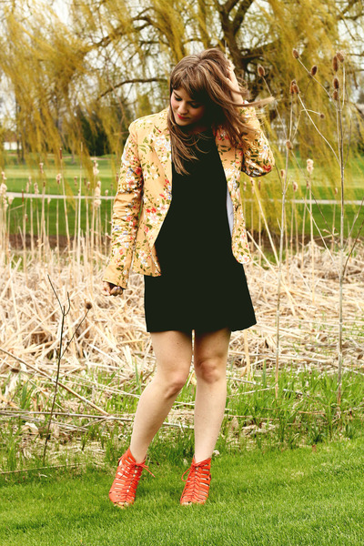 black Forever21 dress - gold modcloth blazer - coral Meijer heels