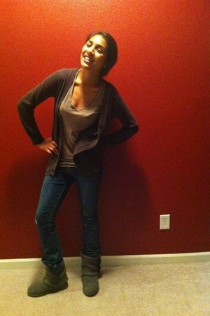 gray Ugg boots - brown calvin klein cardigan - beige Nordstrom t-shirt - Levis j
