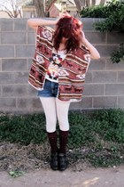 tribal shirt - ankle boots - shorts - Forever 21 cape