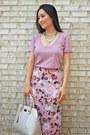 Tan-patent-pauls-boutique-bag-bubble-gum-bcbg-skirt