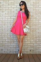 hot pink bow back skater deb dress - white LucyMint bag - gold coach wedges