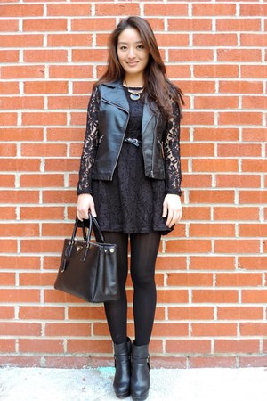 black asos boots - black lacy a line OASAP dress - black deb tights