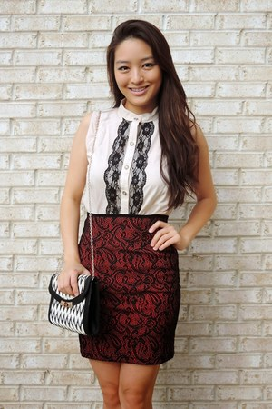 beige lacy tank ami clubwear top - black Prima Donna bag