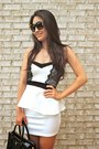 White-lacy-peplum-deb-dress-black-saffiano-prada-bag