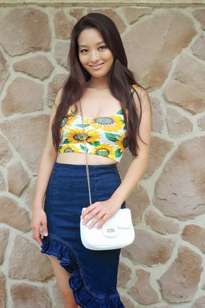 yellow sunflower crop OASAP top - white faux leather deb bag - blue OASAP skirt