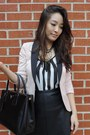 Black-stella-dot-necklace-light-pink-fitted-tuxedo-h-m-blazer