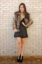 black animal print Alberto Makali coat - black cut-out ankle deb boots