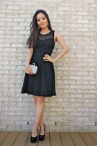 black mesh bow-back OASAP dress - silver sparkly clutch Lily Rain bag