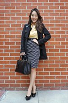 yellow Velvet Heart top - black winter Burberry coat - black saffiano Prada bag