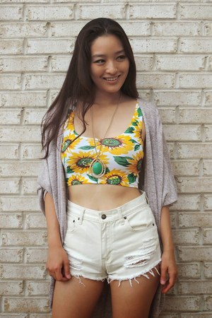mustard sunflower top OASAP top - ivory lace slip son le bunny bleu shoes