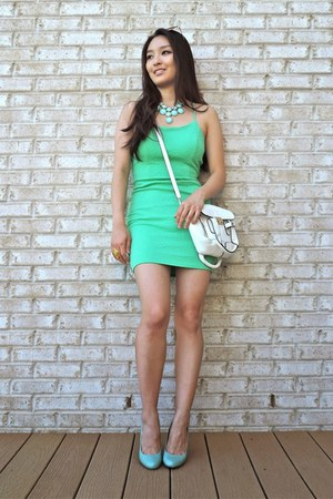 aquamarine Charlotte Russe dress - white LucyMint bag
