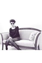 black Secondhand sunglasses - blue dress - black H&M sweatshirt