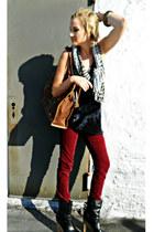 platform Dolce Vita boots - zebra Ron Herman scarf - vintage bag vintage bag