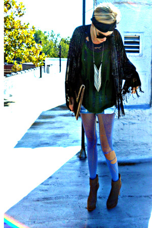 light blue slasher Mink Pink shorts - tan ankle Dolce Vita boots