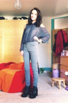 black H&M boots - silver red herring jeans - charcoal gray chiffon H&M shirt