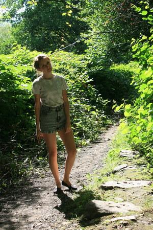 black black Primark pumps - turquoise blue denim Miss Selfridge shorts