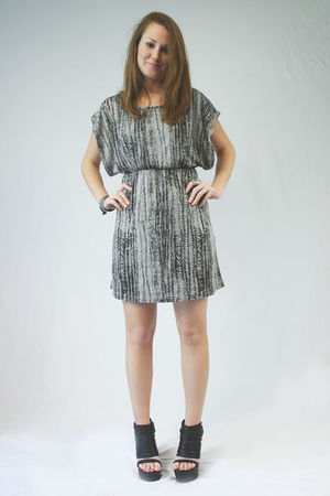 gray MinkPink dress - silver Seventh Door bracelet - black Jeffrey Campbell shoe