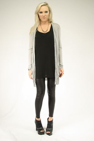 gray alternative cardigan - black alternative shirt - black Seventh Door legging
