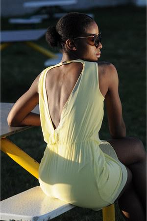 yellow Zara dress - crimson Ralph Lauren flats