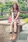 Light-brown-wedge-forever21-boots-pink-floral-forever21-dress