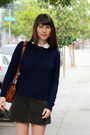 Navy-cashmere-everlane-sweater-tawny-thrifted-purse-ivory-thrifted-blouse