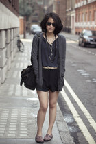 grey The Kooples sweater - rabeanco bag - silk Topshop shorts