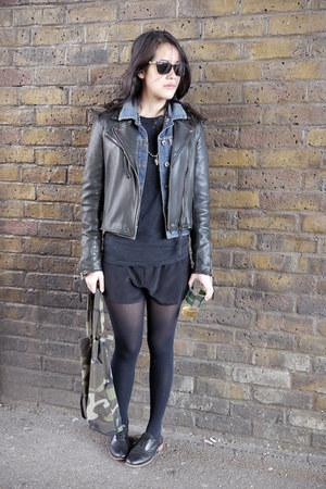 denim Topshop jacket - black silk Topshop shorts - black Uniqlo top