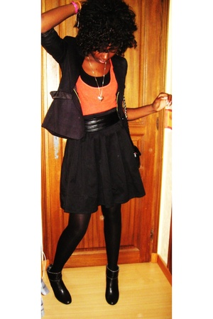 H&M top - H&M skirt - Gemo marque franaise shoes - jacket - Chanel purse - H&M n