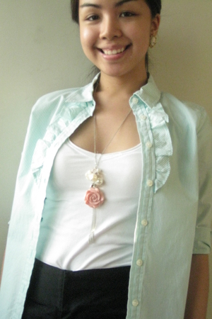 green Old Navy top - white Zara shirt - Old Navy shorts - pink Forever21 necklac